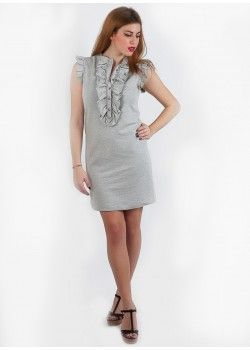 Cashmere Grey Dress with frills.