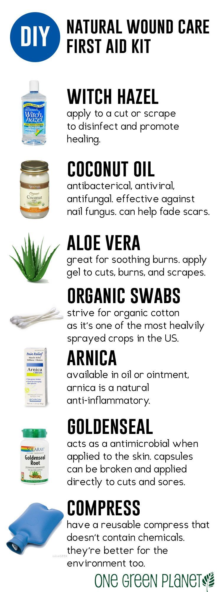 Natural Wound Care at Home: 7 Products You Need for Your Homemade First Aid Kit (I have all but the Aloe Vera since I break out in a rash when I use it)