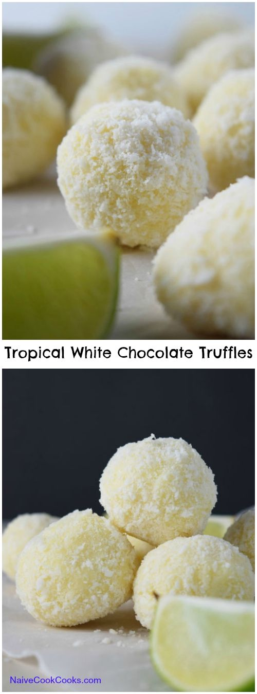 Lime zest infused white chocolate truffles rolled in coconut to make the most delicious creamy truffles!NaiveCookCooks.com