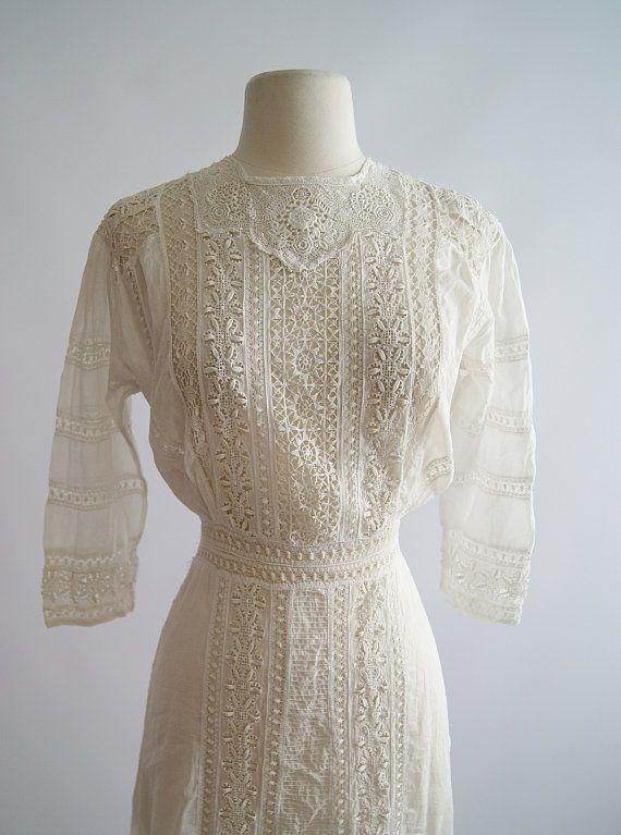 Vintage Edwardian Wedding Dress  1900s Edwardian by xtabayvintage