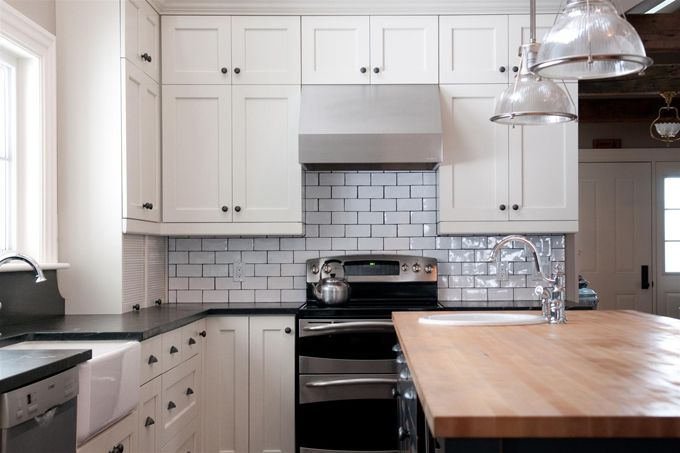 white kitchen cabinets subway tile soapstone counter with butcher block counter subway 28935