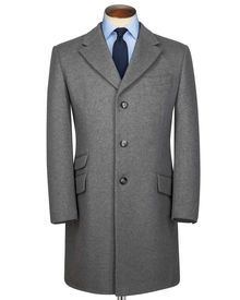 Slim fit silver wool and cashmere Epsom overcoat
