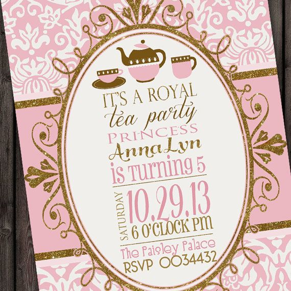 cute Tea Party invitation, Royal tea party birthday invitation, princess tea party invitation, gold, pink and damask