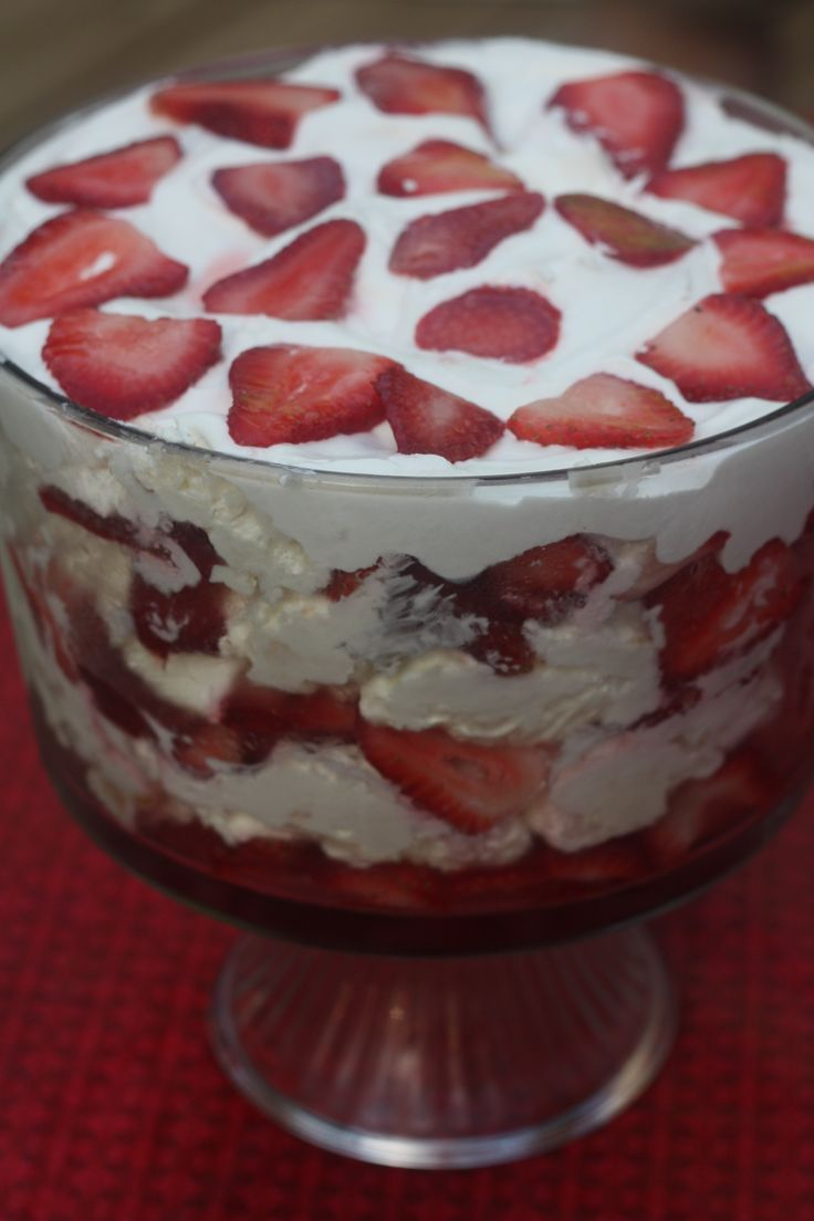 beat 2 pks softened cream cheese, 2 cps powder sugar, 8 oz sour cream, 1/2 tsp vanilla, 1/4 tsp almond extr, fold in 1C cool whip, stir in 1 angel food cake, mix 4 tbsp sugar with 2 qts strawberries. Layer and top with berries