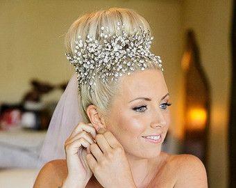 Bridal Stirnband Braut Kopfschmuck Haar Vine von Sparklebyelle