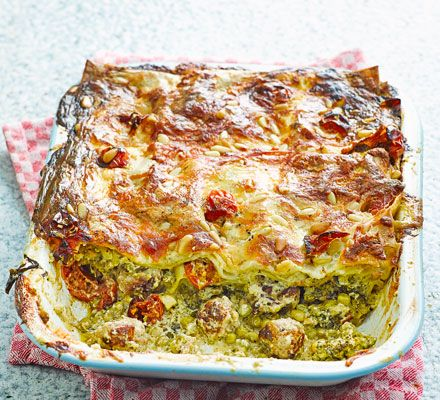 Switch up your classic family lasagne with pesto, broccoli, mascarpone and chunks of sausage in a dish that's rich in calcium, folate, fibre and vitamin C