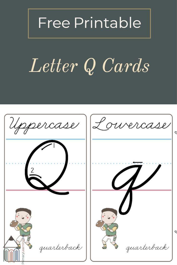 Upper Case Cursive Q : upper, cursive, Cursive, Printable, Cards, PrimaryLearning.org, Teaching, Alphabet,