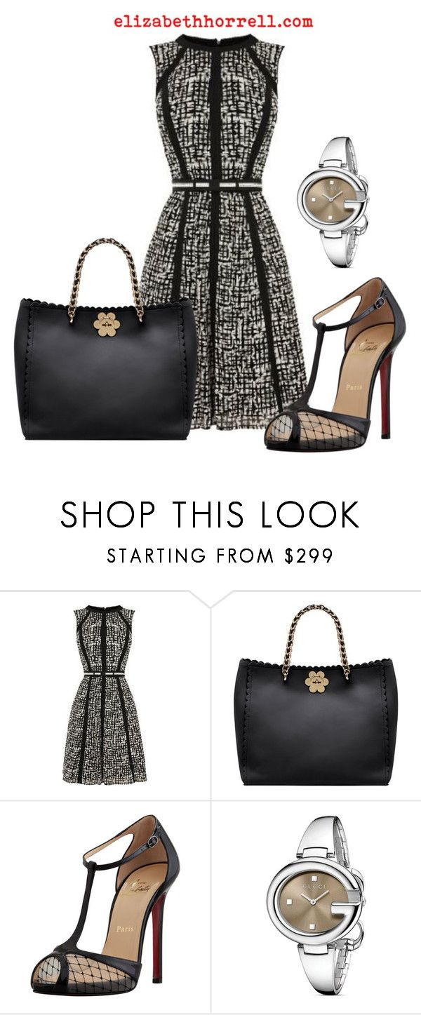 """Liz pics"" by elizabethhorrell ❤ liked on Polyvore featuring Karen Millen, Mulberry, Christian Louboutin and Gucci"