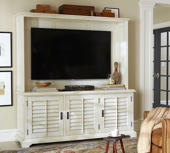 Holstead Shutter Large Media Console Hutch Pottery Barn Home Living Room Pinterest