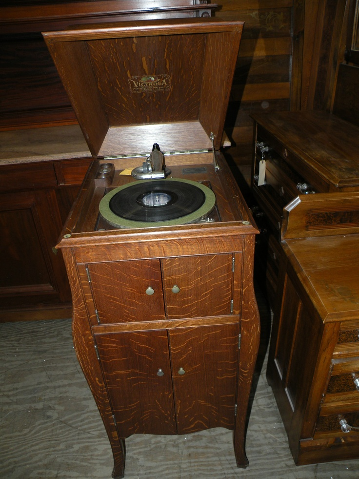 Antique 1916 Rca Victor Victrola Oak Consolette Floor