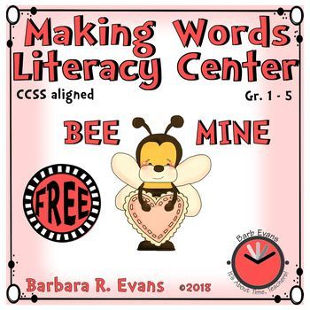 MAKING WORDS: Bee Mine Literacy Center.   Give each student the letter tiles for 1 of the 7 seasonal words & challenge them to make words.