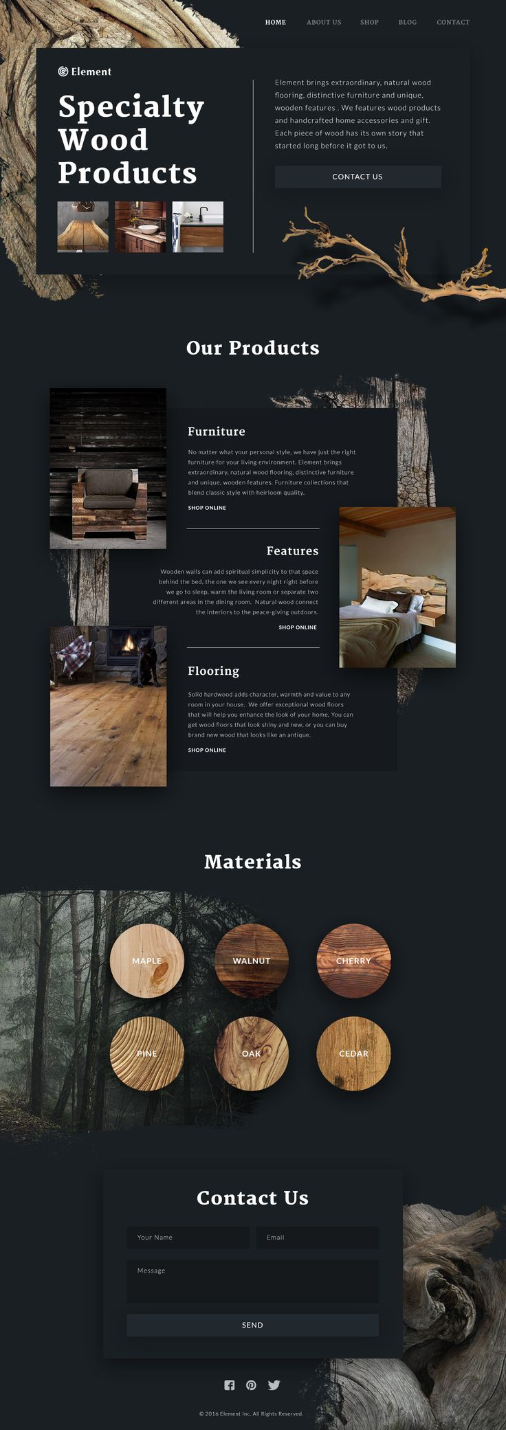 Wood products site tubik