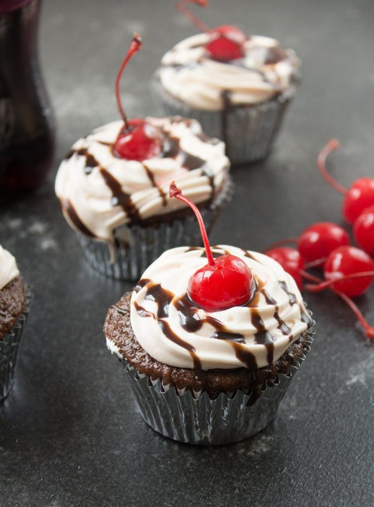 Cherry Coca Cola Cupcakes on SixSistersStuff.com