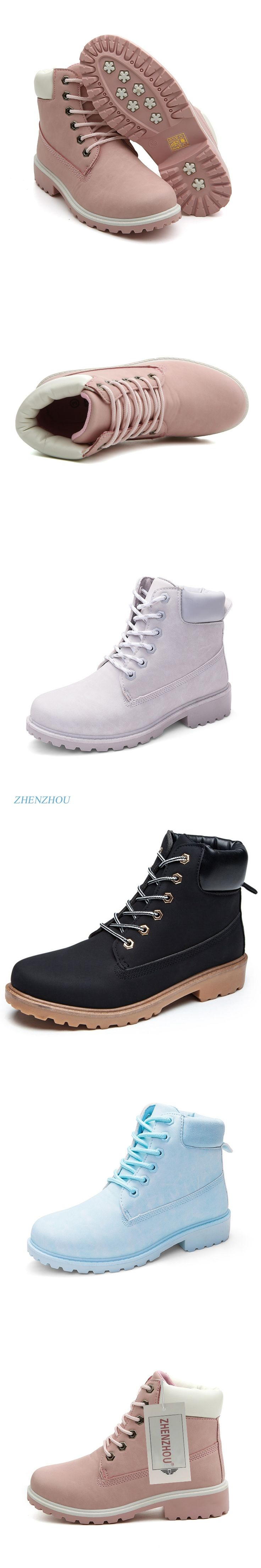 zhenzhou Autumn and winter Women's shoes Work boots Flat top shoes Female code Casual Martin boots