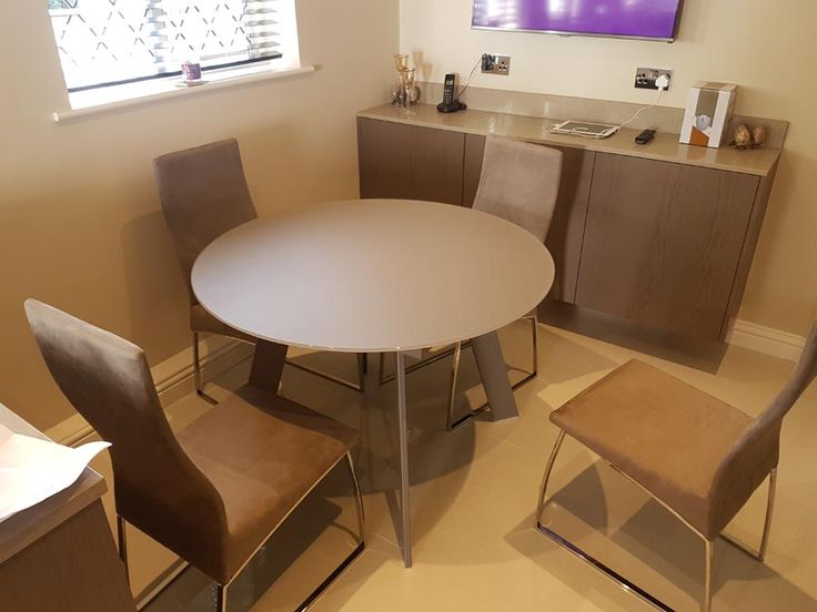 Round Matt Glass Table With Verona Dining Chairs In Microfibre Material  With Chrome Legs. Table