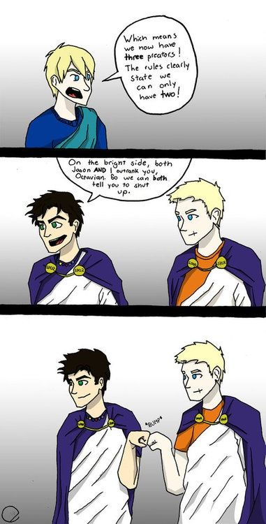 I don't know whether I'm laughing at the   quote, the brofist, or the fact that Jason and Percy are wearing   togas!