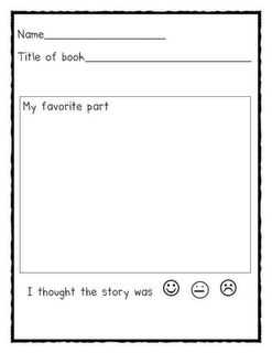 Book response forms - click on this image once you get to blog post & it takes you to a set of sheets including: my favorite part, these are some of the characters in the story, this is the main character from the story, and this is the setting in the story (4 pages).