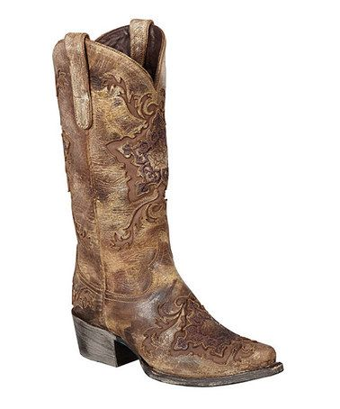 Another great find on #zulily! Brown Reign Leather Cowboy Boot by Lane Boots #zulilyfinds