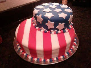 - This is my first two tier cake, and for a large crowd of people too.  The top tier is 10 inch chocolate cake with buttercream icing covered in blue fondant with white stars.  The bottom tier is 14 inch white cake in three layers, red, white and blue; covered in buttercream icing and red and white striped fondant decorations.