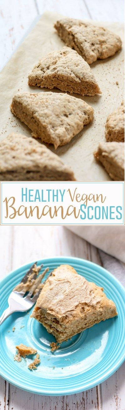 Healthy Vegan Banana Scones made with whole grain flour and low in sugar, these scones are a healthy way to start your morning. They have the perfect texture, and pair wonderfully with some almond butter and a cup of coffee! Plus, no one will ever know they're vegan!