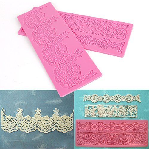 Cake Decorating Lace Molds Uk : 2PCS Lace Embossing Soft Silicone Mold Mould Sugar Craft ...