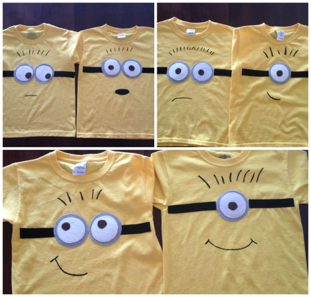 Glasses are felt. Use fusible webbing to iron them on the t-shirt, then sew around the edges. Use fabric paint or a Sharpie to draw on the mouth and hair