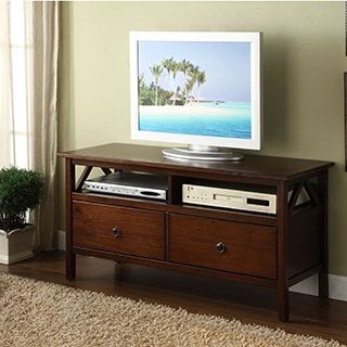 Linon Tiziano TV Stand Aged Cherry | Overstock.com Shopping - The Best Deals on Entertainment Centers