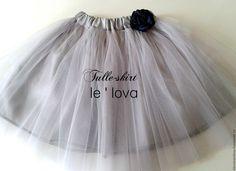 Купить Детская юбка из фатина цвет Мельхиор - серый, однотонный, юбка из фатина, балетная пачка