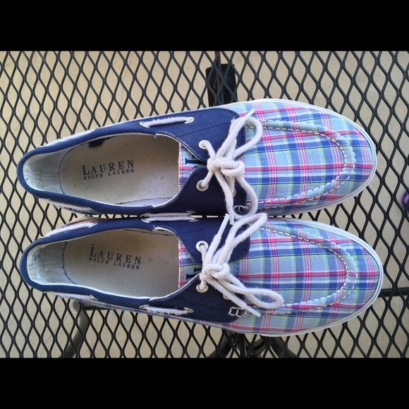 Ralph Lauren boat shoes Gently used, multi colored Ralph Lauren Boat shoes perfect for summer! The main color is Navy blue. Great condition. Ralph Lauren Shoes