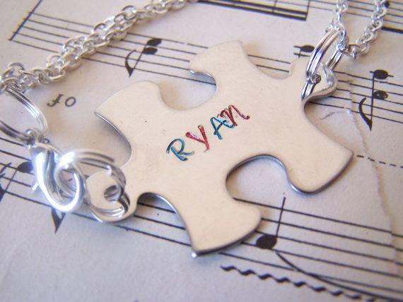 Hand Stamped Puzzle Piece Bracelet, Autism Awareness, Child's Bracelet, Puzzle Jewelry, Custom Name Bracelet #autism #awareness #jewelry
