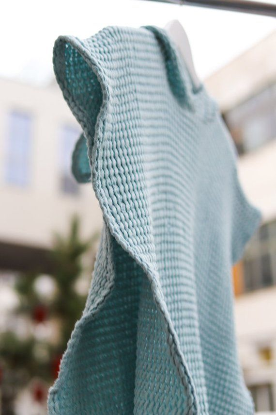 Adult Hooded Towel Linen Surf Poncho Mint Green Linen Cover Up