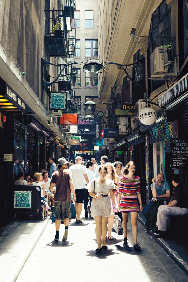 A Melbourne laneway: Centre Place, viewed from Flinders Lane looking towards Collins St. Photo by: João Canziani
