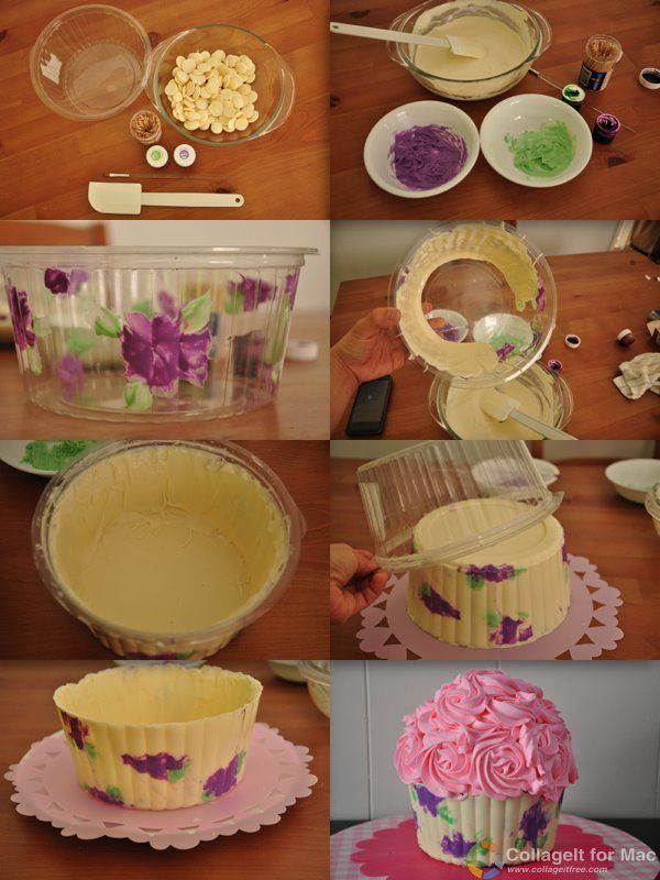 Tutorial Alert! Inspired by the beautiful cupcake cakes I see , I made this simple tutorial on how to make a printed giant cupcake chocolate shell. Happy caking! :)