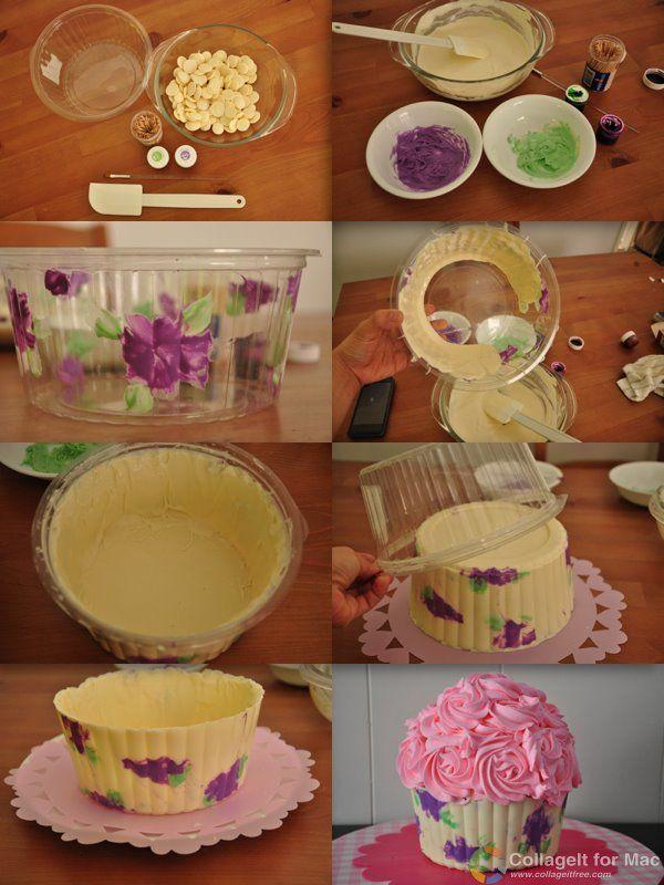 How to make a printed giant cupcake chocolate shell