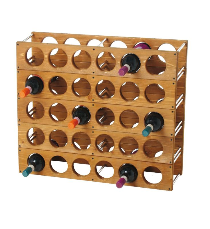 Cantinetta - Bottle rack in pine wood, it can be placed one upon another with special junctures. / Cantinetta portabottiglie in legno di pino, può essere appesa e sovrapposta grazie ad appositi incastri.