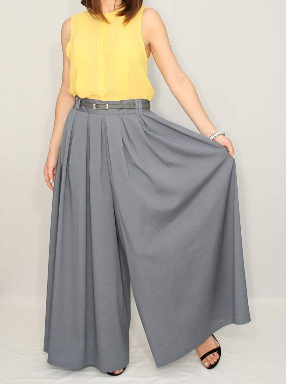 Women Pants fashion skirt pants Chiffon Pants Dark by KSclothing
