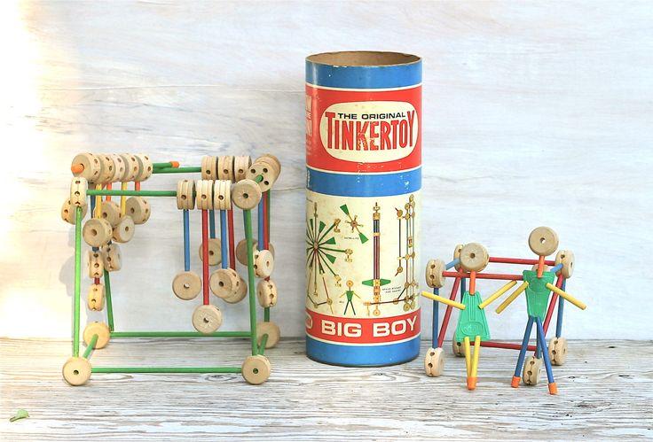 1960s toys | Circa 1960s Tinker Toy Big Boy Set 155 by ivorybird on Etsy