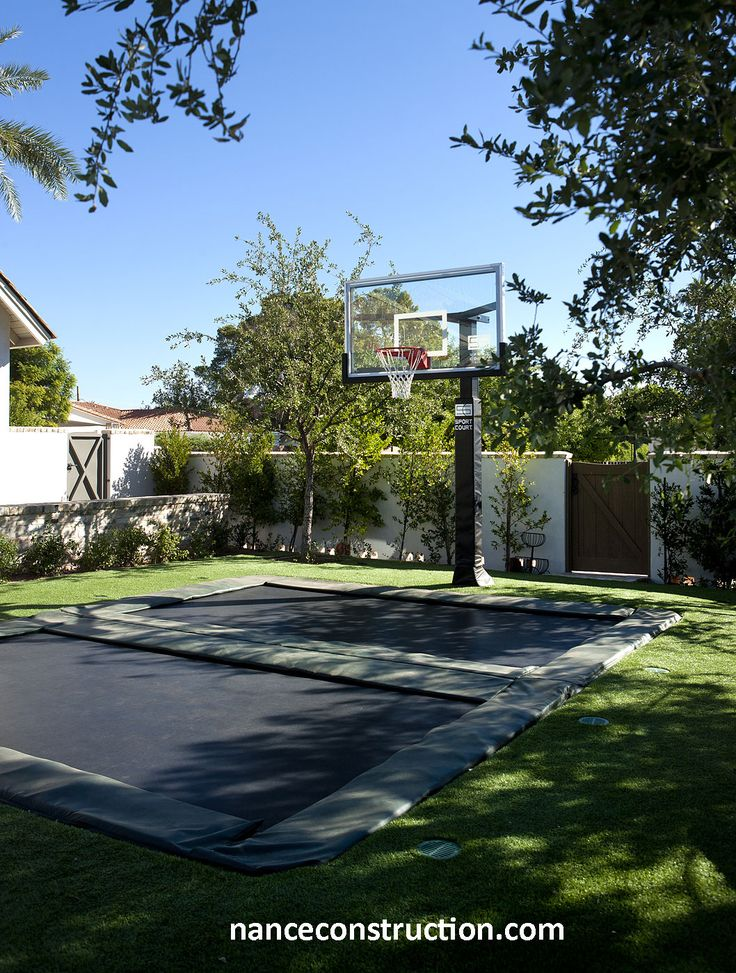 Trampoline and Basketball hoop