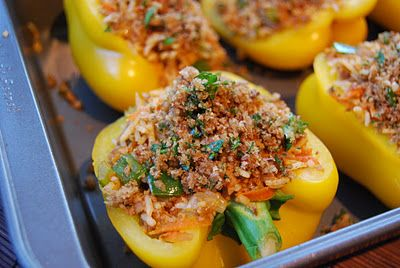 Kirsten's Kitchen: of vegan creations: Stuffed peppers with rice and TVP