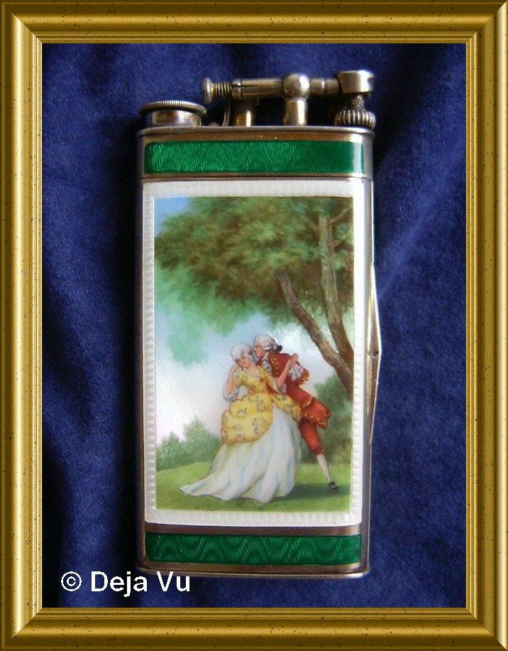 Rare silver enamel Dunhill lighter / cigarette box, sold. www.dejavu.marktplaza.nl