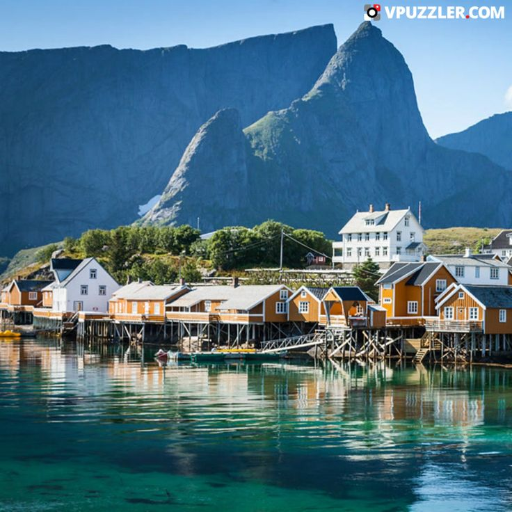 Norvegian village #Scandinavia #Europe #boat #architecture