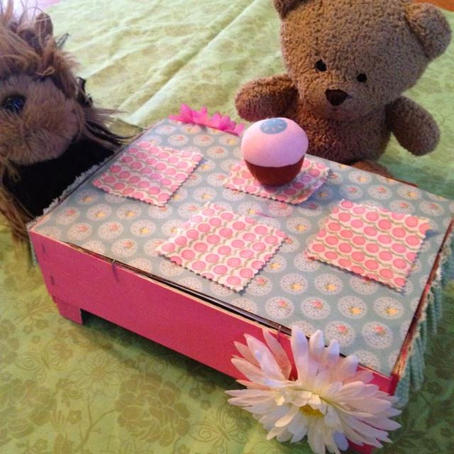 Clementine box as table...For Lilah Rose!