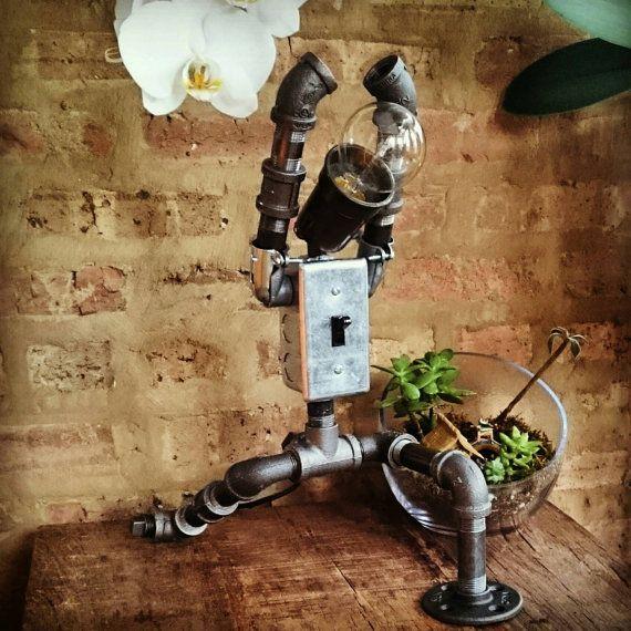Warrior One Zen Yoga Lamp - Industrial Pipe Robot Lamp