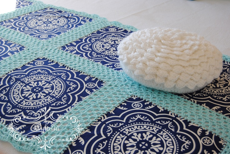 Crochet and fabric blanket - This would be a cool way to use those bandanas!