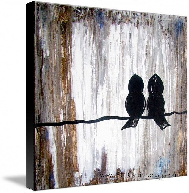 Original Art - TWO OF A Kind - One 12x12 canvas acrylic (Birds On A Wire). $53.00, via Etsy.