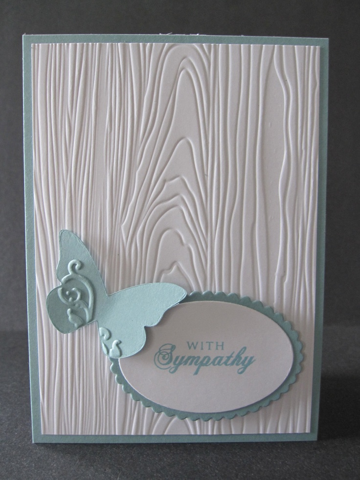 Embossed Blue Butterfly Sympathy Card. $4.00, via Etsy.