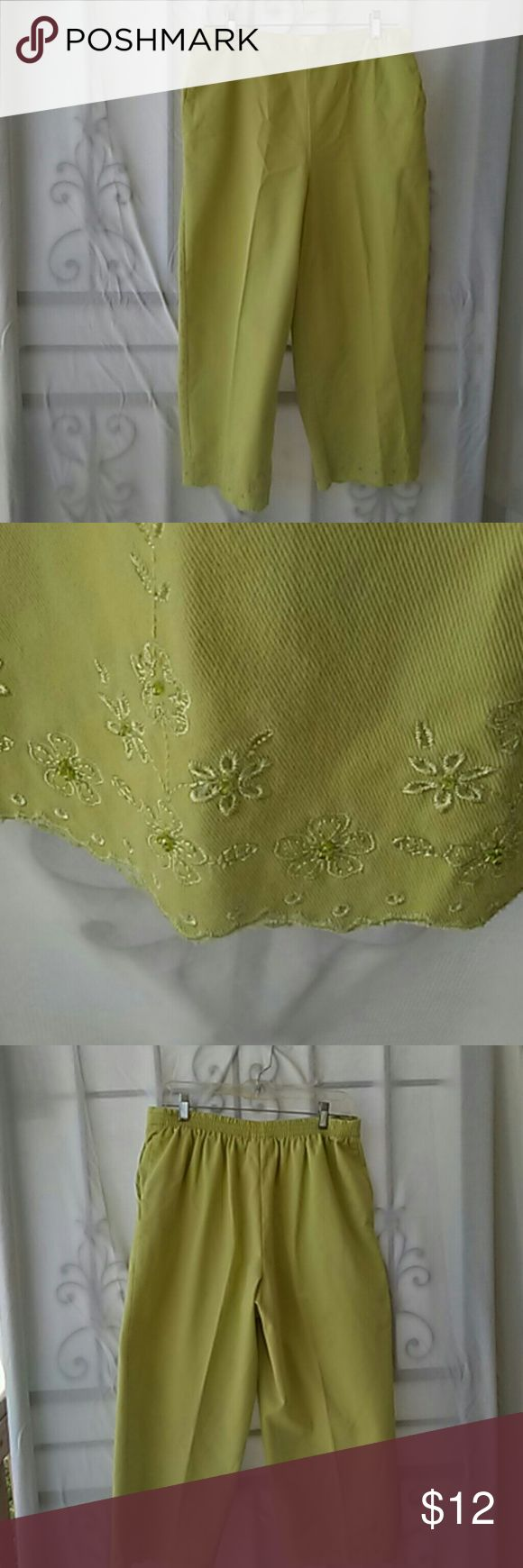 Capri pants lime green size 12 These pants have an elastic waist inside pockets worn once excellent condition. These capris match the fresh produce top I just listed. I try to ship same day if not next day. Alfred Dunner Pants Capris