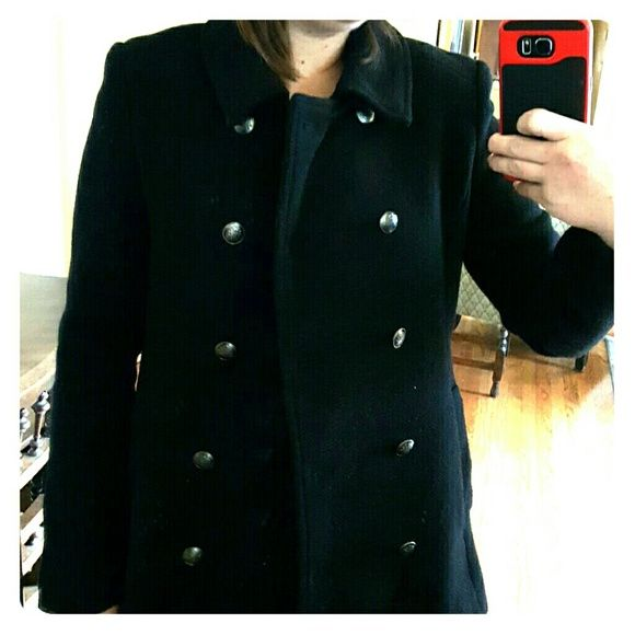 Black forever21 pea coat Black size M double breasted pea coat. Recently dry cleaned! Forever 21 Jackets & Coats Pea Coats