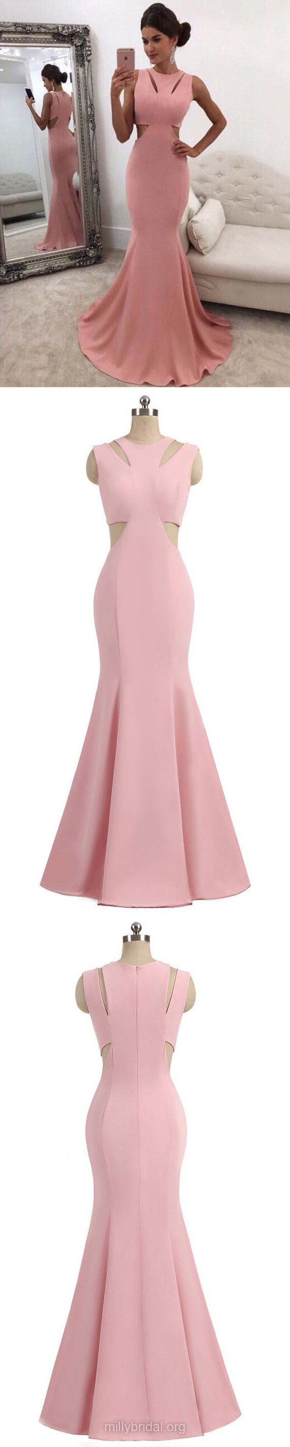 Pink Prom Dresses, Long Prom Dresses, 2018 Prom Dresses For Teens, Trumpet/Mermaid Prom Dresses Scoop Neck, Silk-like Satin Prom Dresses Ruffles #formaldress #pinkdress
