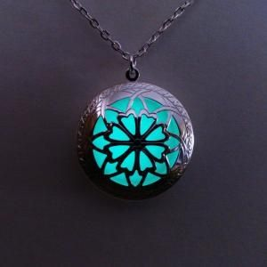 Glowing Locket Necklace- Aqua Glowing Jewelry - Glow in the Dark Pendant - Glowing Pendant - Womens Gift - Christmas - Birthday Gift by ana9112